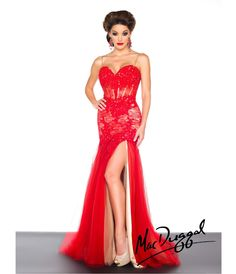 Mac Duggal 2014 Prom Dresses - Red Satin & Lace Corset Prom Gown