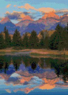 Grand Tetons Montana landscape Cross Stitch pattern PDF - Instant Download! by PenumbraCharts on Etsy