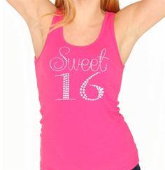 Sweet 16 Rhinestone Tank Top - Sweet 16 Gifts #RhinestoneTank #Rhinestone #Sweet16