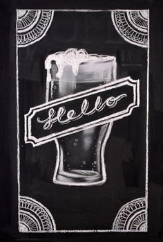 M | Custom Hello Beer Illustrated Chalk Sign | Medium Sign on Etsy