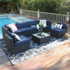 Wicker Patio Furniture, Outdoor Furniture Sets, Outdoor Decor, Wicker Table, Wicker Sofa, Smart Furniture, Furniture Online, Outdoor Seating, Furniture Deals