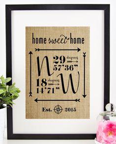Latitude Longitude Sign House Warming Gift by chathamplace
