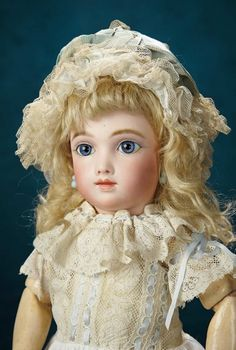 Forever Young - Marquis Antique Doll Auction: 27 French Bisque Bebe A.T. by Thuillier, Size 5, Blue Eyes and Original Signed A.T. Shoes