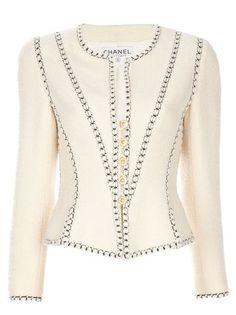 Chanel Vintage Jaqueta vintage off-white em lã.