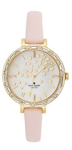 Kate Spade New York 'metro' Crystal Bezel Heart Dial Watch -Dainty hearts waft across the pretty mother-of-pearl dial of a crystal-framed watch set on a slender, scratch-resistant leather strap. - at Nordstrom. Rubin Rose, Ring Armband, Elegante Y Chic, Jewelry Accessories, Fashion Accessories, Fashion Jewelry, Kate Spade Watch, Diamond Are A Girls Best Friend, Jewelry Watches