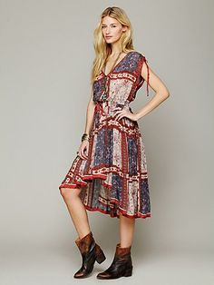 Free People Quilted Rose Print Dress