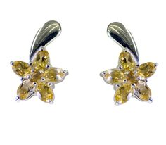 Silver Earring Citrine Earring Yellow  Earring Silver Earring hippie dangle SECIT-14036 by RiyoGems