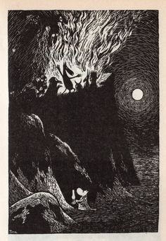 Tove Jansson's illustration (I love how cute she made that little moomin). Tove Jansson, Les Moomins, Illustrator, Art Manga, Scratchboard, Black And White Illustration, Norse Mythology, Children's Book Illustration, Gravure