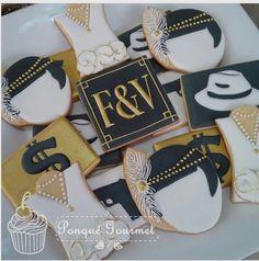 """Galletas decoradas on Instagram: """"#galletasdecoradas #tema #gatsby y #Gangster #años20 para #celebracion de #cumpleaños #royalicingcookies #royalicing #icingcookies #glase…"""" Roaring 20s Birthday Party, Roaring 20s Theme, Gatsby Theme, 60th Birthday Party, Gatsby Party, 1920 Theme, 20s Party, Roaring Twenties, Gatsby Cookies"""