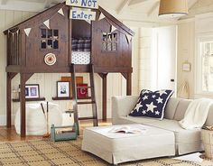 """I love the Pottery Barn Kids Tree Fort Bedroom! This will be the type pf """"forest"""" room Ben has been talking about! Pottery Barn Kids, Treehouse Loft Bed, Playhouse Bed, Playhouse For Boys, Indoor Playhouse, Playhouse Plans, My New Room, Boy Room, Child's Room"""