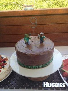 9-year olds love of Minecraft in a cake!
