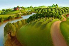 Classical Masterpiece 'The Plains' by Grant Wood Art Print by JA(c)anpaul Ferro - X-Small Modern Landscape Design, Landscape Concept, Landscape Architecture Design, Landscape Artwork, Contemporary Landscape, Abstract Landscape, Grant Wood Paintings, Wood Painting Art, Wood Art