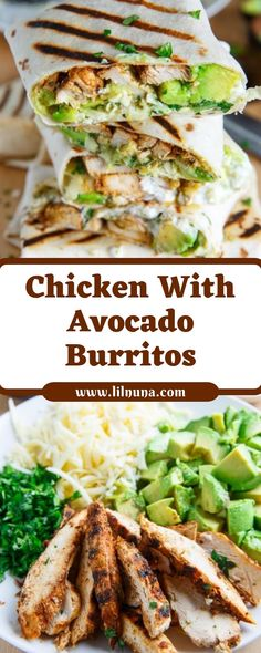 Chicken With Avocado Burritos - List of the best food recipe Gourmet Recipes, Mexican Food Recipes, Dinner Recipes, Cooking Recipes, Healthy Recipes, Quick Recipes, Mexican Desserts, Freezer Recipes, Easy Cooking