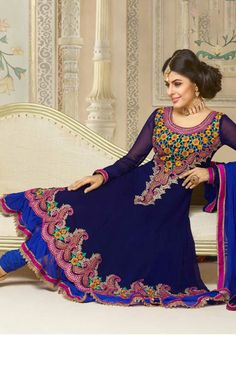 BLUE FAUX GEORGETTE ANARKALI SALWAR KAMEEZ - VP 2811