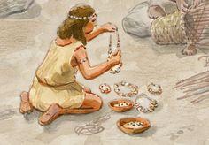 Tecnologías cotidianas - Neolítico Pleno · Confección de joyas de variscita. En un número significativo de yacimientos de este período se han hallado pulseras y collares elaborados con un tipo específico de piedra verde denominado variscita o calaita. Este tipo de adornos se han encontrado depositados como ofrendas funerarias en numerosas tumbas de la zona, tanto en enterramientos femeninos como masculinos de personas adultas o de criaturas.