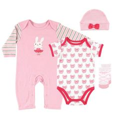 Hudson Baby Girls 4 Piece Ballerina Bunny Set with Raglan Coverall, Bow Printed Bodysuit, Hat and Ballet Shoe Socks from BabiesRUs on Catalog Spree, my personal digital mall.