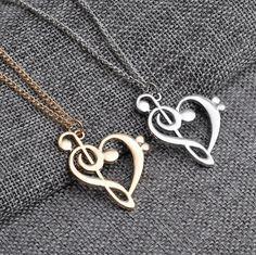 Heart shape Clef/Treble necklace