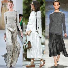 Das passarelas para as ruas: As elegantes saias plissadas receberam upgrade cool e futurista com a tendência dos metalizados. Saiba mais na minha coluna no blog da  @camilacoelho!  #FhitsTips #FhitsTrendAlert