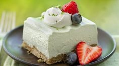 Enjoy this fluffy lime dessert made using Yoplait® Original 99% Fat Free Key lime pie yogurt that's garnished with whipped topping.