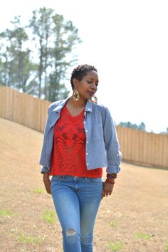 Double Shirts on Double Denim, embroidered lace red top worn with cropped chambray shirt, jeans and leopard print flats, thrift store outfits, thrift style, thrift fashion, casual outfits for moms, dressed up jeans, Thriftanista in the City