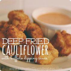 Deep Fried Cauliflower with Buffalo Dipping Sauce. Crispy, soft & slightly salty on the inside, these fried cauliflower snacks are such a yummy treat!