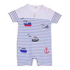 Verypoppa Toddler Cute Blue Stripe Navy Style Short Sleeve Cotton Onepiece Babysuit 1018 M A >>> Click image for more details.