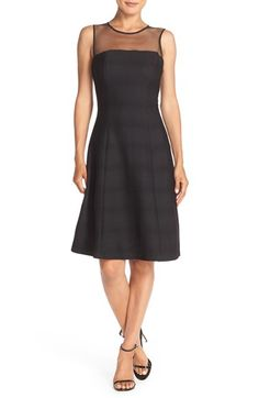 London Times Pintuck Fit & Flare Dress