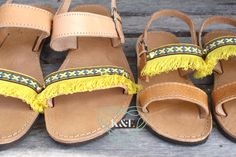 Mommy and Me Yellow Fringe Greek Sandals by KandElphy