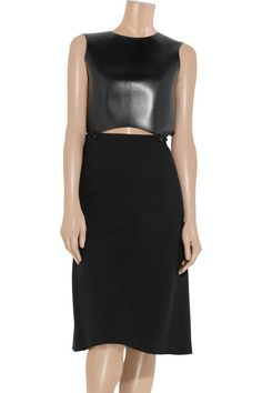 Chloé's black dress with a cutout leather bodice strikes the perfect balance between urban and elegant.