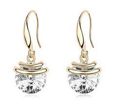 Boucles d'oreilles pendantes cristal rond d' Autriche, bijou pour femmes plaqué d'or 18 carats à trés bas prix.