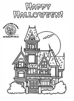 Free Printable Coloring Sheets Halloween Haunted House For Boys ...