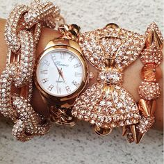 Pink, sparkle, gold, bling... ~accessories~ #bracelet #accessory #watch