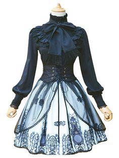 Gothic Lolita Skirt Neverland Chiffon Pleated Printed Black Lolita Bottom