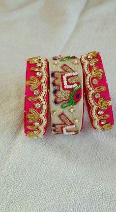 Hetal ponda selection White n pink Silk Thread Bangles Design, Silk Bangles, Thread Jewellery, Fabric Jewelry, Kundan Bangles, Diy Jewellery, Jewelry Crafts, Fashion Jewelry, Bridal Cuff