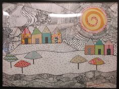 Drawing with Collage   5th grade auction item 32x24   karol ann   Flickr