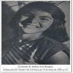 "Andréa Nair Benigno. Coluna do Gil ""Gente"" do A Crítica de 27 de maio de 1982."