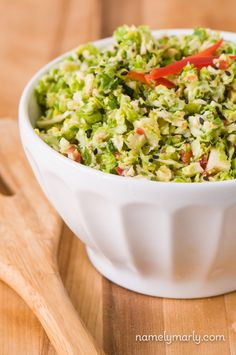 "<p>This interesting cole slaw variation is made with Brussels Sprouts, bell peppers, herbs, lemon and some agave nectar for a touch of sweetness. <a href=""http://namelymarly.com/brussels-sprouts-slaw/"" target=""_blank"">Get the recipe HERE</a>. </p>"