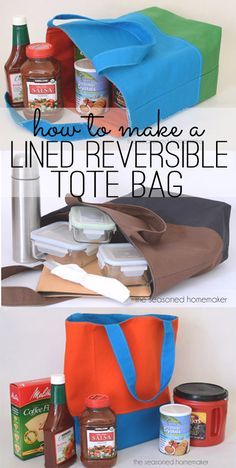 This is a basic Reversible, Lined, Tote Bag Pattern. I originally designed this for my husband to carry his lunch to work but found it made a sturdy bag to carry to the grocery store.- The Seasoned Homemaker