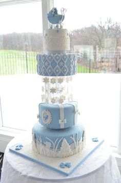 Beautiful Blue Winter Wonderland Cake For Boyu0027s Baby Shower With Gumpaste Baby  Carriage, Sugar Snowflakes,