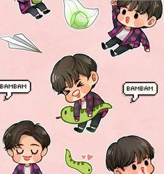 Got7 Fanart, Kpop Fanart, Mark Jackson, Young And Rich, Cartoon Fan, Got7 Bambam, Photo Illustration, Jinyoung, Memes