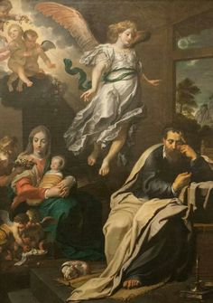 St Joseph with Mary and Jesus and the angels