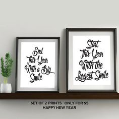 Quote on Smile. Set of 2 Prints. Happy New Year. PRINTABLE ART. Instant Download. Black and White.Typography Digital Art.