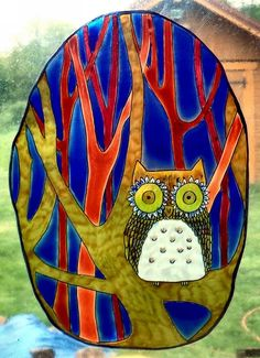WICOART WINDOW COLOR STICKER CLING FAUX STAINED GLASS NIGHT WATCH OWL CHOUETTE