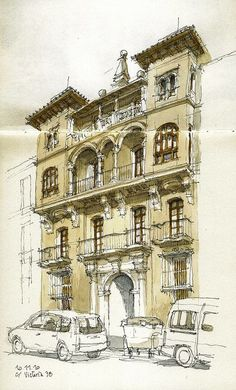WHO: Luis Ruiz WHAT: Architecture is drawn neatly with only certain parts coloured. (digital) WHY: minimalism could make an interesting design to layer over other images. Croquis Architecture, Art Et Architecture, Architecture Sketchbook, Travel Sketchbook, Art Sketchbook, City Sketch, Building Sketch, Urban Sketchers, Watercolor Sketch