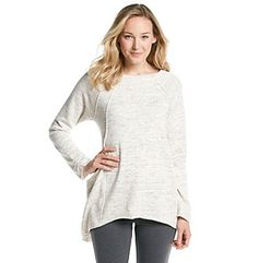 Go for comfort and chic style with this boatneck swing pullover from Calvin Klein Performance. This soft french terry top features a slouchy side detail with a spacedye pattern and vintage-inspired raw edging details. Boat Neck, French Terry, Vintage Inspired, Calvin Klein, Tunic Tops, Pullover, Knitting, Chic, Sweaters