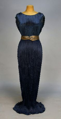 FORTUNY DELPHOS GOWN with SASH and ORIGINAL BOX, c. 1930. Made in Italy. I love royal blue. Pleated silk with black and white striped Murano glass beads,