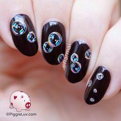 Rainbow bubbles nail art