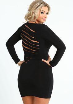 Plus Size Shredded Bodycon Dress
