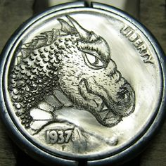CHRISTOPHER STINNETT HOBO NICKEL - DRAGON - 1937 BUFFALO NICKEL Custom Coins, Hobo Nickel, Antique Coins, Dragon Head, Jewelry Collection, Carving, Dragons, Buffalo, Cactus