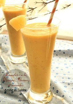 smoothies mangue ananas et amandes - Amour de cuisine - Expolore the best and the special ideas about Cocktails Mango Smoothies, Healthy Smoothies, Healthy Drinks, Healthy Recipes, Juice Recipes, Smoothie Diet, Milk Shakes, Super Dieta, Cuisine Diverse